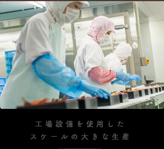 工場設備を使用したスケールの大きな生産
